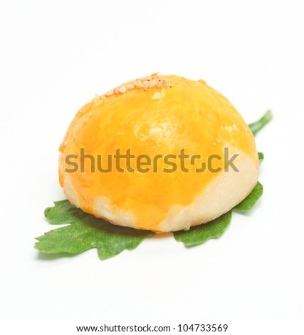 mooncakes with leaf on white background