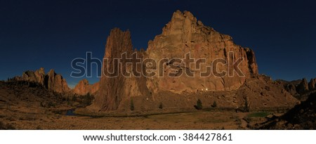 Moonlight night at Smith Rock State Park in Oregon USA