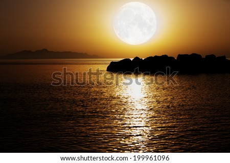 moonlight on the night sea. Elements of this image furnished by NASA
