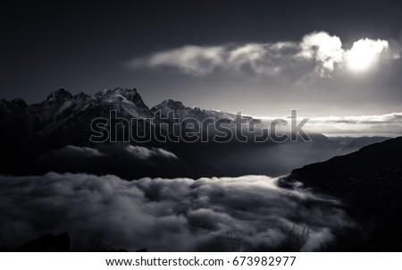 Moonlight over la Meije, French Alps, les Écrins National Park