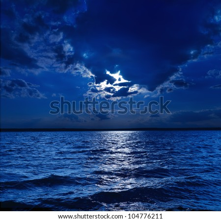 moonlight over water - stock photo