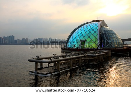Moonlight Rainbow Fountain in the Han River in South Korea-in the morning - stock photo