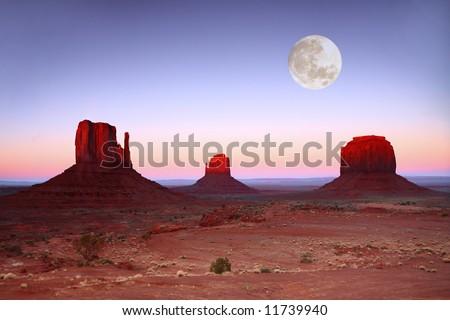 Moonlit Landscape in Monument Valley, Navajo Nation, Arizona USA