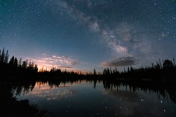 Moonrise and the Milky Way in the Uinta Mountains, Utah, USA.