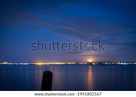 moonrise at lake velence, velence at night Stock fotó ©