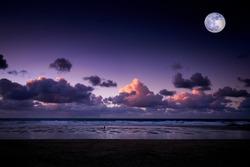 Moonrise at Sunset Newquay,Cornwall.