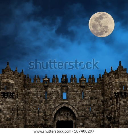Moonrise over the Damascus Gate  -  the Old city of Jerusalem (Israel)