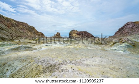 moonscape in volcanic crater on white island, new zealand