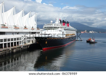 Moored cruise ship in Canada Place Vancouver BC Canada port of entry.