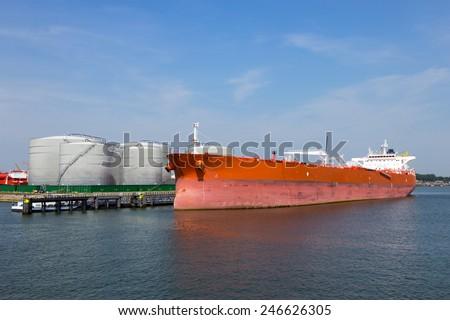 Moored oil tanker