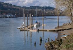 Moored sailboats Willamette river and Portland Oregon landscape.