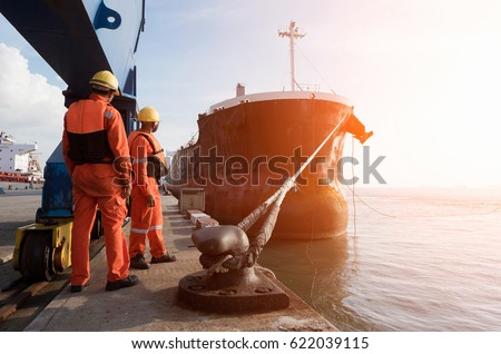 mooring gang in port to departure ship