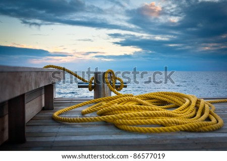 Mooring ring and rope.