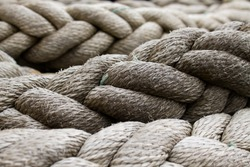mooring rope close up, sailing background, boat or ship moor rope