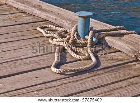 Mooring rope detail in harbour