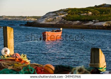 Mooring row boat in the early morning