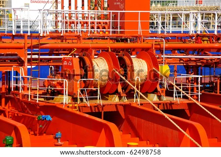 mooring winches on deck of chemical tanker
