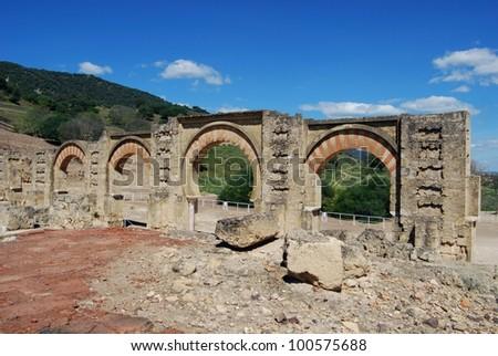Moorish arches, Medina Azahara (Madinat al-Zahra), Near Cordoba, Cordoba Province, Andalusia, Spain, Western Europe.