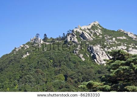 Moorish castle on the top of the sierra of Sintra , Portugal