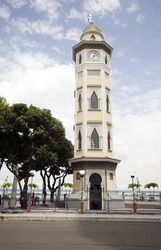 moorish style clock tower guayaquil ecuador south america on malecon 2000 and 10 de agosto avenue