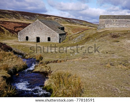 Moorland Steam and disused Lead Mine, View of the Yorkshire Dales, UK