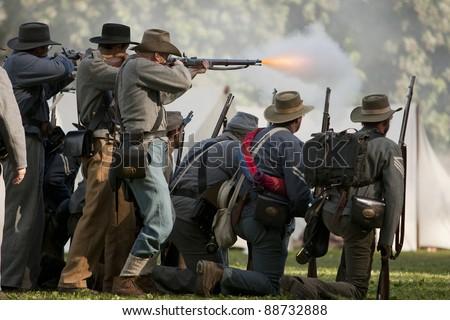 "MOORPARK, CA - NOV 13: Confederate Civil War reenactors in ""The Blue & The Gray"" event on Nov 13, 2011 in Moorpark, CA. Its the largest Civil War reenactment in the West."