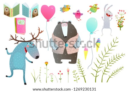 Moose and Bear Books Flowers Items Clip Art. Funny forest animals friends with objects isolated set.