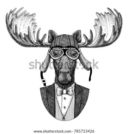 Moose, elk Animal wearing jacket with bow-tie and biker helmet or aviatior helmet. Elegant biker, motorcycle rider, aviator. Image for tattoo, t-shirt, emblem, badge, logo, patch