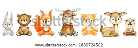 Moose, hare, squirrel, Fox, deer, badger, bear, cartoon style, on a white background. watercolor, set of forest animals.