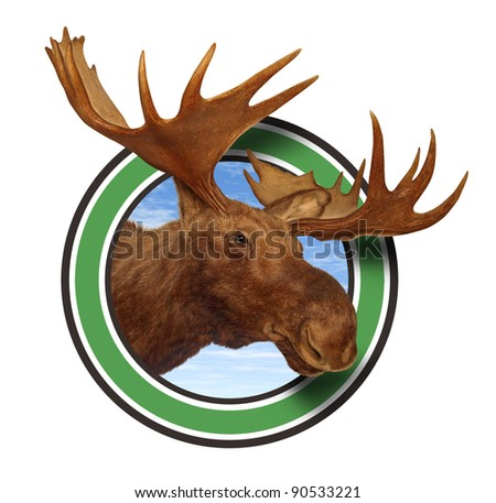 Moose head antler forest icon isolated on white background representing northern fauna from the wildlife of the Canadian and American north mountains for responsible hunting and natural preservation.