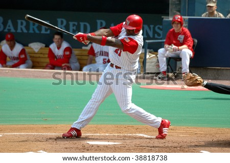 MOOSIC, PA - APRIL 27: Scranton/Wilkes-Barre Red Baron Ryan Howard swings at a pitch in the April 27, 2005 game in Moosic, PA. Howard hit .371 for the Barons in 2005.