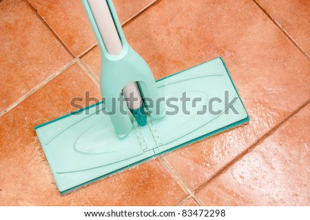 mop on the checkered ceramic floor