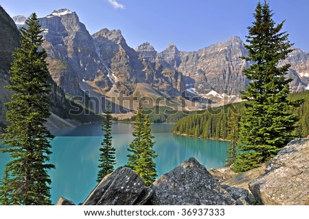 Moraine Lake, Alberta, Canada In Summer Horizontal - stock photo
