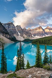 Moraine lake at sunrise, Banff. Canadian Rockies, Alberta, Canada