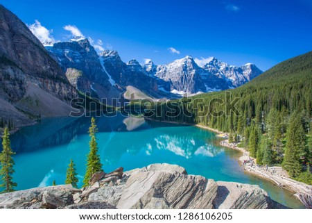 Moraine Lake in the Valley of the Ten Peaks in Banff National Park in the Canadian Rockies in Alberta Canada #1286106205