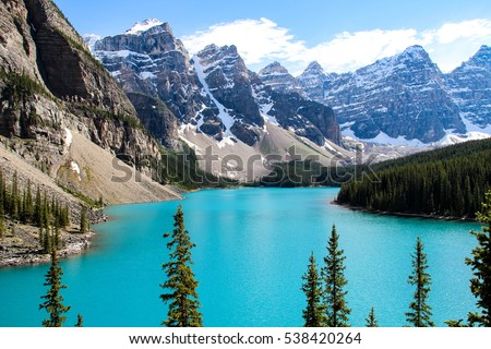 Moraine Lake is a glacially fed lake in Banff National Park, outside the Village of Lake Louise, Alberta, Canada. #538420264