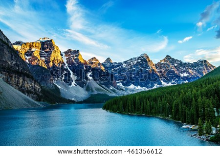 Moraine Lake is a glacially-fed lake located in the Valley of the Ten Peaks in Banff National Park Alberta, Canada #461356612