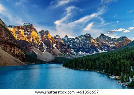 Moraine Lake is a glacially-fed lake located in the Valley of the Ten Peaks in Banff National Park Alberta, Canada #461356657