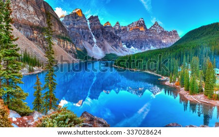 moraine lake sunrise in banff...
