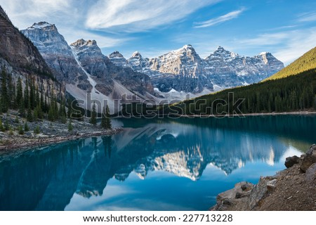 moraine lake with in the valley ...