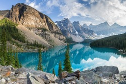 Moraine lake with the rocky mountains panorama in the banff canada