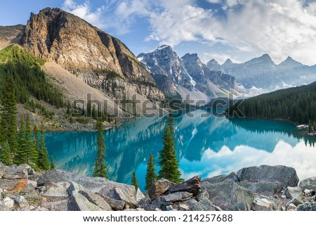moraine lake with the rocky...