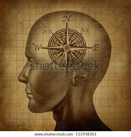 Moral compass and career path concept with a human head and a compass as a brain on a grunge old parchment texture as a concept of knowing what direction to follow in life and for business success.