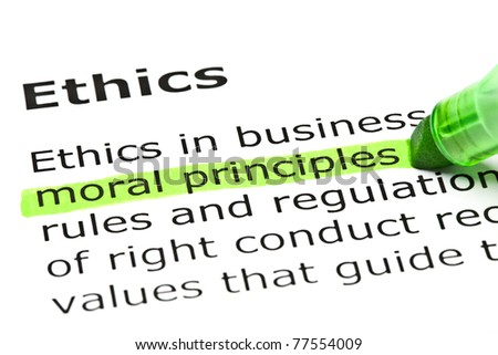 Moral principles highlighted in green, under the heading Ethics.
