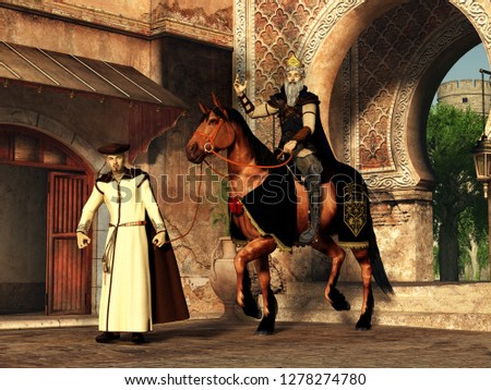 Mordechai and Haman, a scene from The Book of Esther, part of the story of Purim. 3D Rendering  Foto stock ©
