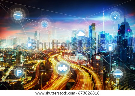 Morden city and smart transportation and intelligent communication network of things ,wireless connection technologies for business . #673826818