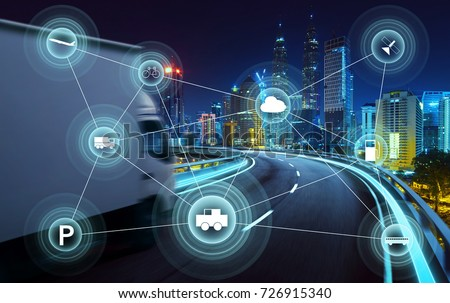 Morden city and smart transportation and intelligent communication network of things ,wireless connection technologies for business .