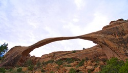 More than 2,000 natural sandstone arches are located in Arches National Park.  The highest density of natural arches in the world. Utah, USA. 2017.