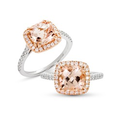 Morganite Ring with diamond group on white isolate Solitaire Style Ring