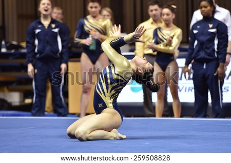 MORGANTOWN, WV - MARCH 8: WVU female gymnast JOrdan Gillette performs on the floor exercise during a dual meet March 8, 2015 in Morgantown, WV.